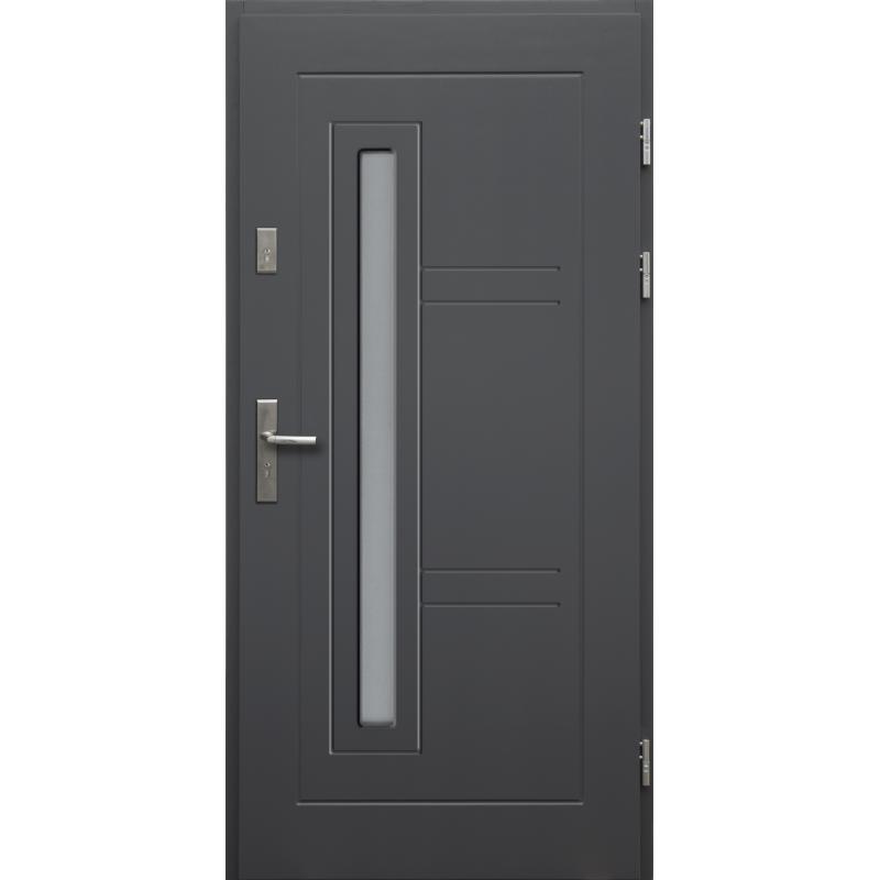 Drewniane drzwi zewnętrzne Spartakus z klamką - sosnowe - kolor: ANTRACYT