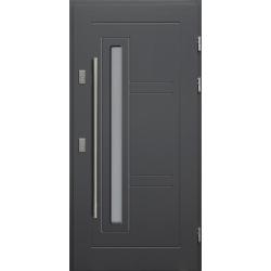 Drewniane drzwi zewnętrzne Spartakus - sosnowe z antabą 1200 - ANTRACYT