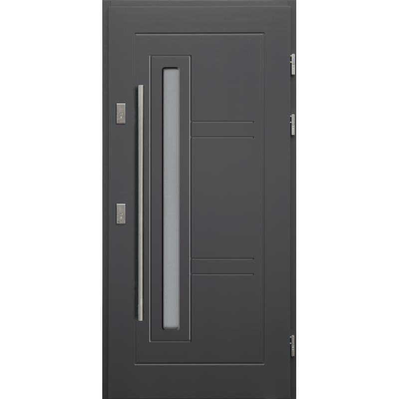 Drewniane drzwi zewnętrzne Spartakus - sosnowe z antabą 1200 - Kolor: ANTRACYT