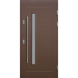 Drewniane drzwi zewnętrzne Spartakus - sosnowe z antabą 1200 - BRĄZ