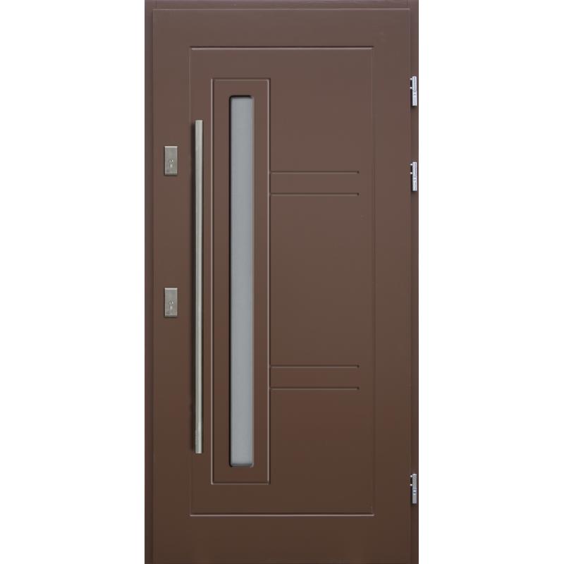 Drewniane drzwi zewnętrzne Spartakus - sosnowe z antabą 1200 - Kolor: BRĄZ