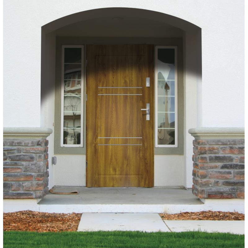 Drzwi zewnętrzne pełne z pasami ozdobnymi APOLLO V2 - Złoty Dąb. Produkt POLSKI.