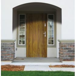 Drzwi zewnętrzne pełne APOLLO V1 - Ciemny Orzech. Produkt POLSKI.