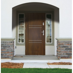 Drzwi zewnętrzne pełne z pasami ozdobnymi APOLLO V2 - Ciemny Orzech. Produkt POLSKI.