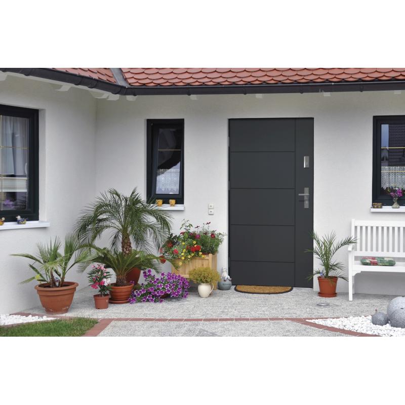 Drzwi zewnętrzne pełne LINEA - Antracyt. Produkt POLSKI.