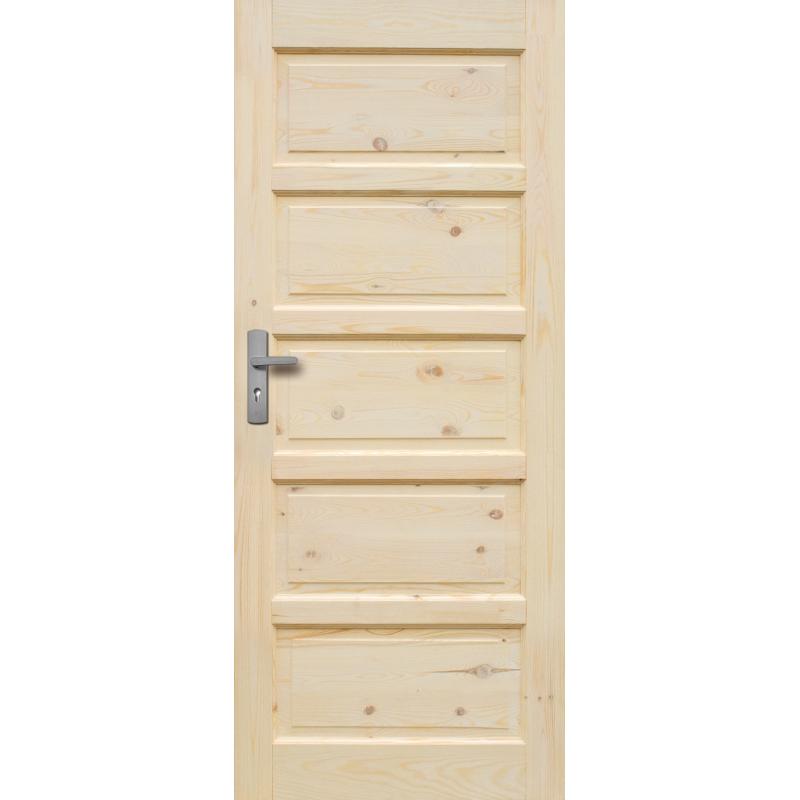 """Drzwi sosnowe, sęczne, nieszklone - """"Iława"""" pełne - Seria Classic - Bezprzylgowe Drzwi wewnętrzne drewniane """"RADEX"""""""