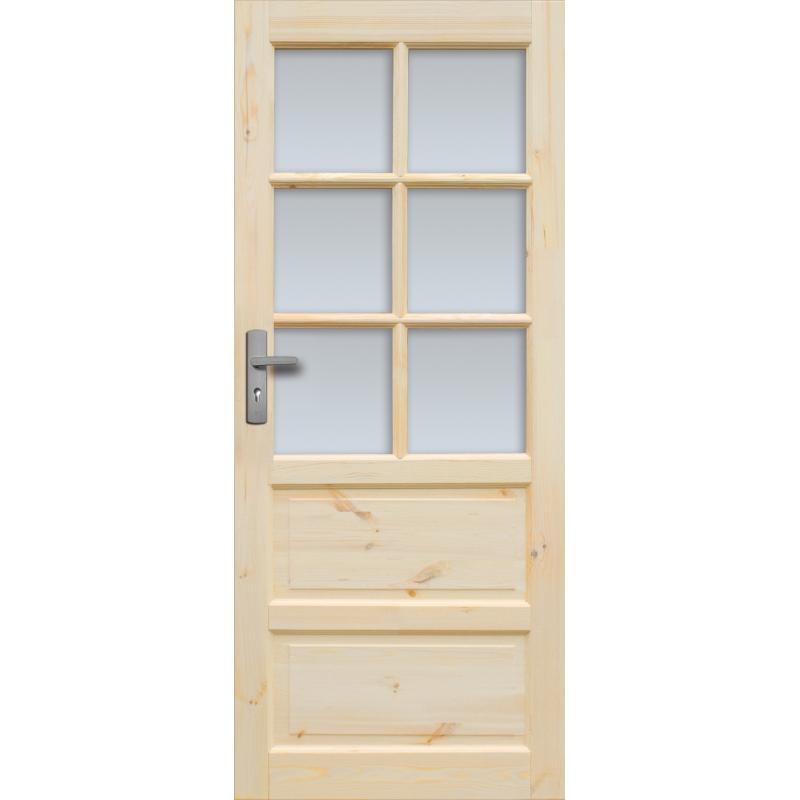 """Drzwi sosnowe, sęczne, nieszklone - """"Iława"""" 6S - Seria Classic - Bezprzylgowe Drzwi wewnętrzne drewniane """"RADEX"""""""