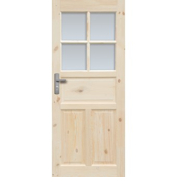 """Drzwi sosnowe, sęczne - """"Londyn Lux"""" wersja 4S - Seria Classic Bezprzylgowe - Drzwi wewnętrzne drewniane """"RADEX"""""""