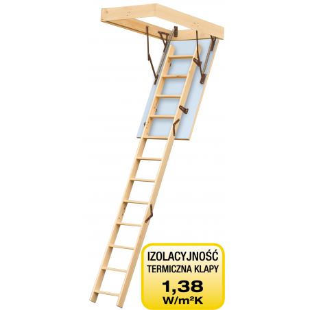 """Drewniane schody strychowe """"TERMO"""" 90x70 cm"""