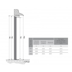Drzwi zewnętrzne APOLLO V2. Produkt POLSKI. Wymiarowanie wysokości, przekrój.