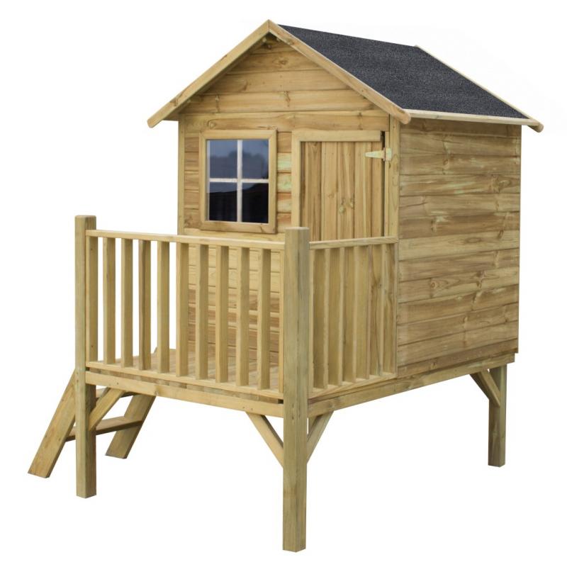 Drewniany domek ogrodowy dla dzieci - Tomek - bez slizgu