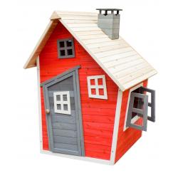 Malowany domek ogrodowy z drewna surowego dla dzieci - Olek