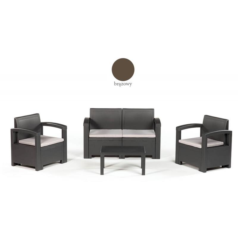 Zestaw wypoczynkowy Dacota (2x fotel + 1x sofa + stolik kawowy) Kolor brązowy
