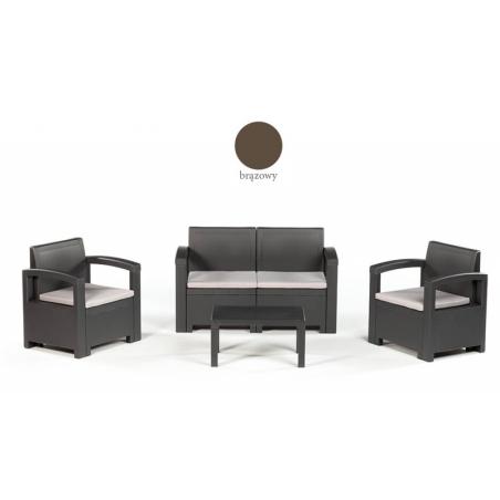 Włoski zestaw wypoczynkowy DACOTA brązowy (2x fotel + 1x sofa + stolik kawowy)