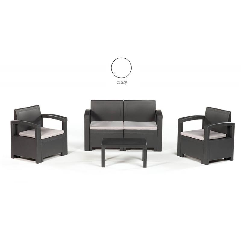 Zestaw wypoczynkowy Dacota (2x fotel + 1x sofa + stolik kawowy) Kolor BIAŁY