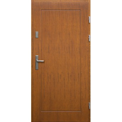 Drewniane drzwi zewnętrzne Andabatus - sosnowe z klamką - TEAK