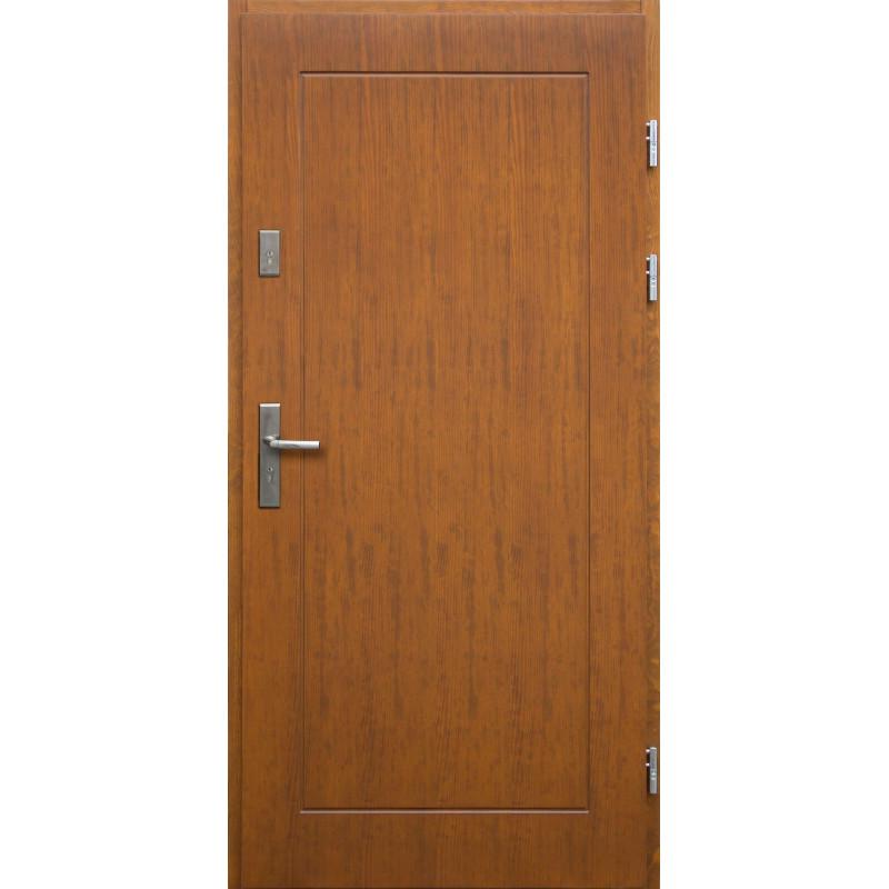 Drewniane drzwi zewnętrzne Andabatus z klamką - sosnowe - kolor: TEAK