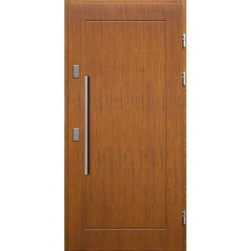 Drewniane drzwi zewnętrzne Andabatus z antabą 800mm - sosnowe - Kolor: TEAK