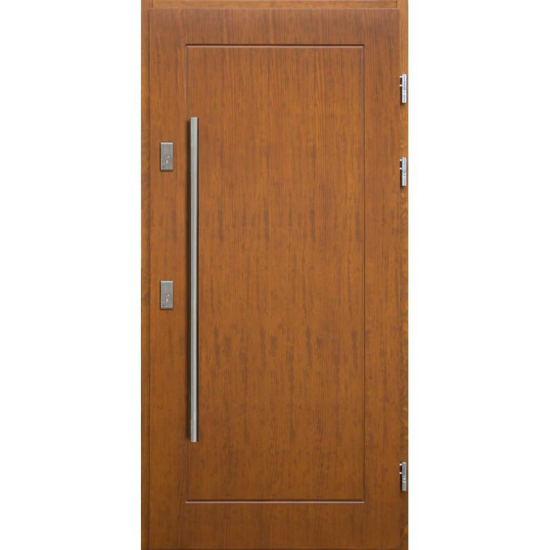 Drewniane drzwi zewnętrzne Andabatus z antabą 1200mm - sosnowe - Kolor: TEAK