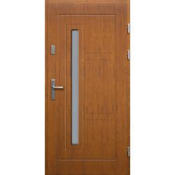 Drewniane drzwi zewnętrzne Spartakus - sosnowe z klamką - TEAK