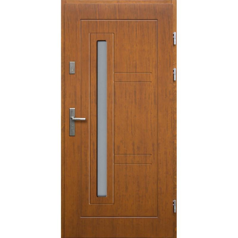 Drewniane drzwi zewnętrzne Spartakus z klamką - sosnowe - kolor: TEAK