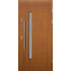Drewniane drzwi zewnętrzne Spartakus - sosnowe z antabą 800 - TEAK