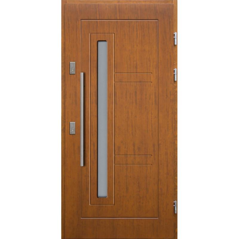 Drewniane drzwi zewnętrzne Spartakus z antabą 800mm - sosnowe - Kolor: TEAK