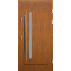 Drewniane drzwi zewnętrzne Spartakus - sosnowe z antabą 1200 - TEAK