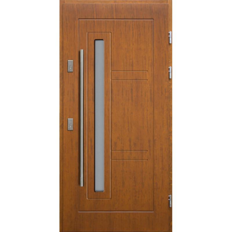 Drewniane drzwi zewnętrzne Spartakus - sosnowe z antabą 1200 - Kolor: TEAK