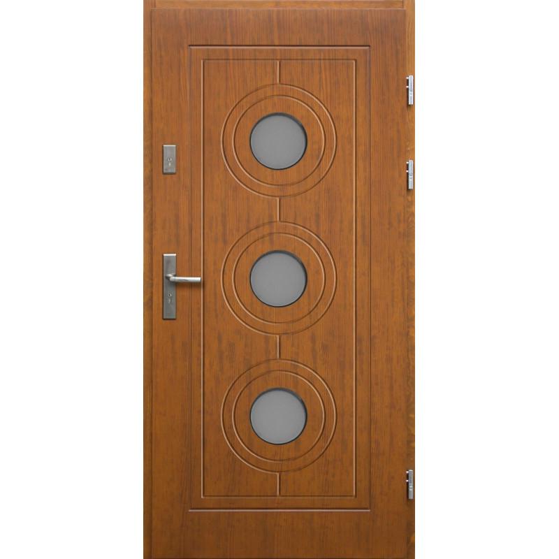 Drewniane drzwi zewnętrzne Lucjusz z klamką - sosnowe - kolor: TEAK