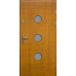 Drewniane drzwi zewnętrzne Lucjusz - sosnowe z klamką - ZŁOTY DĄB