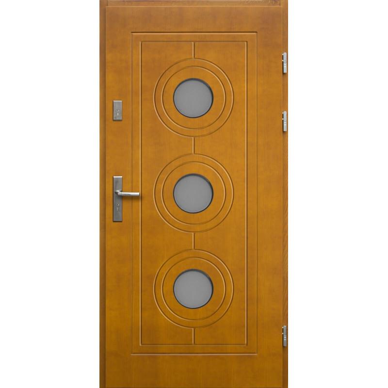 Drewniane drzwi zewnętrzne Lucjusz z klamką - sosnowe - kolor: ZŁOTY DĄB