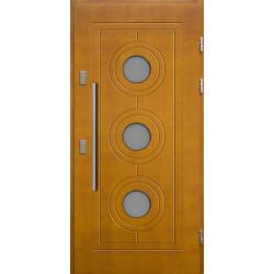 Drewniane drzwi zewnętrzne Lucjusz - sosnowe z antabą 800 - ZŁOTY DĄB