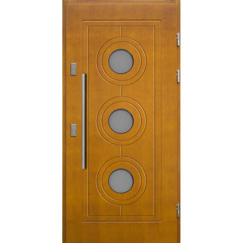 Drewniane drzwi zewnętrzne Lucjusz z antabą 800mm - sosnowe - Kolor: ZŁOTY DĄB