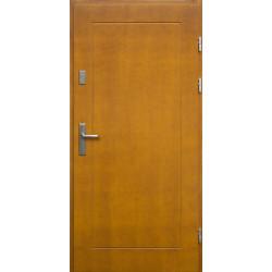 Drewniane drzwi zewnętrzne Andabatus - sosnowe z klamką - ZŁOTY DĄB