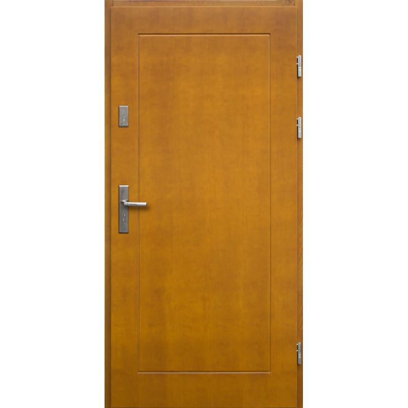 Drewniane drzwi zewnętrzne Andabatus z klamką - sosnowe - kolor: ZŁOTY DĄB