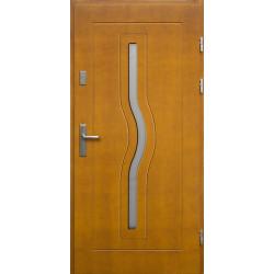 Drewniane drzwi zewnętrzne Herkules - sosnowe z klamką - ZŁOTY DĄB