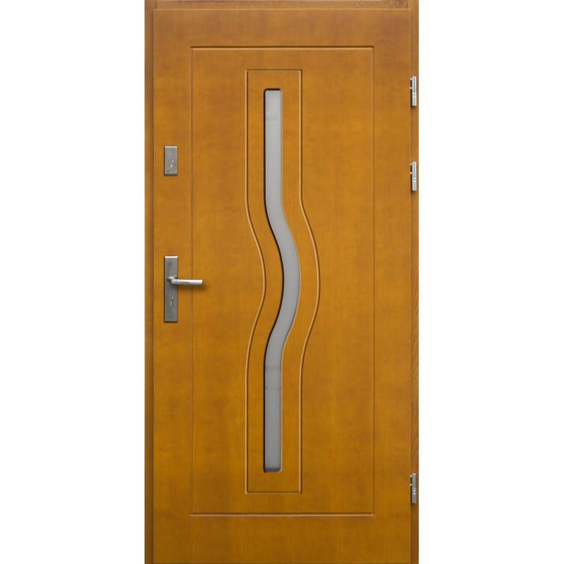 Drewniane drzwi zewnętrzne Herkules z klamką - sosnowe - kolor: ZŁOTY DĄB