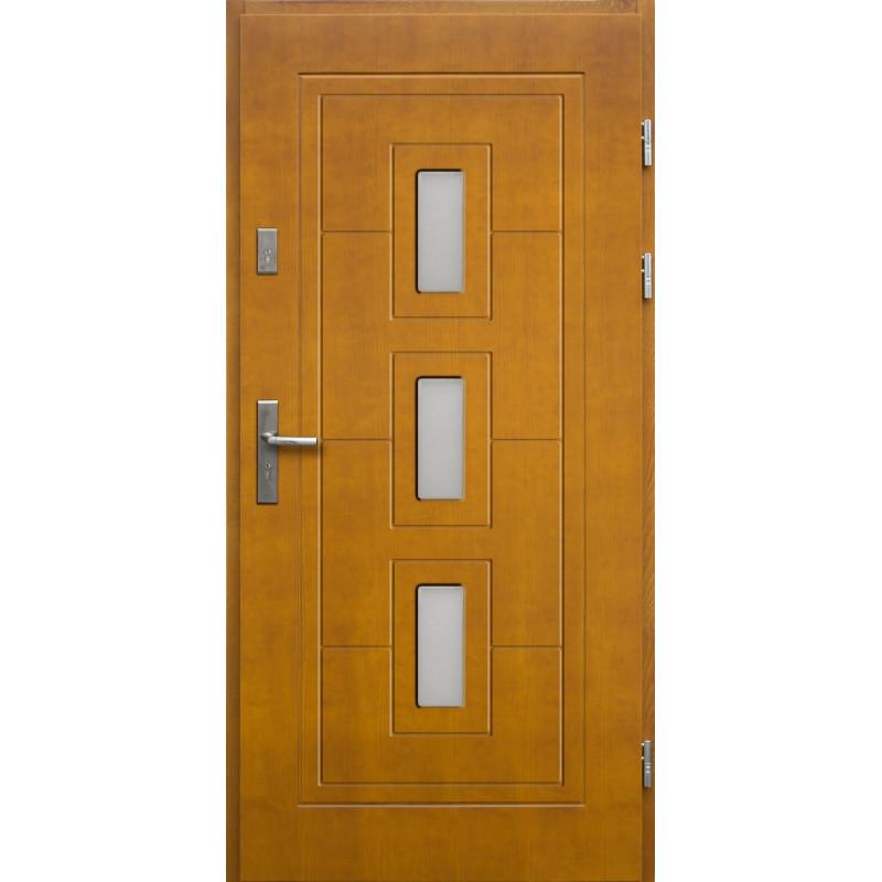 Drewniane drzwi zewnętrzne Klaudiusz z klamką - sosnowe - kolor: ZŁOTY DĄB