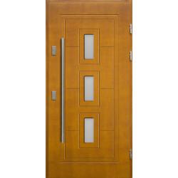 Drewniane drzwi zewnętrzne Klaudiusz - sosnowe z antabą 1200 - ZŁOTY DĄB