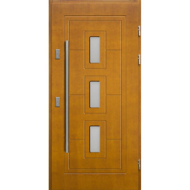 Drewniane drzwi zewnętrzne Klaudiusz z antabą 1200mm - sosnowe - Kolor: ZŁOTY DĄB