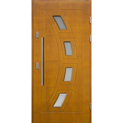 Drewniane drzwi zewnętrzne Komodus - sosnowe z antabą 1200 - ZŁOTY DĄB