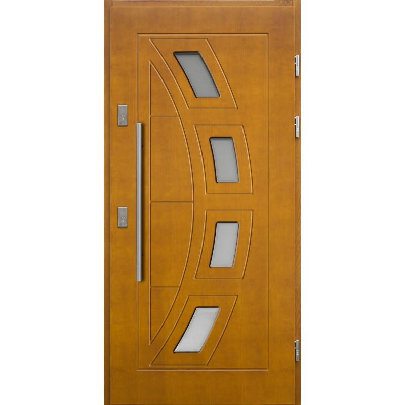 Drewniane drzwi zewnętrzne Komodus z antabą 1200mm - sosnowe - Kolor: ZŁOTY DĄB