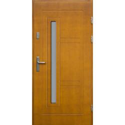 Drewniane drzwi zewnętrzne Spartakus - sosnowe z klamką - ZŁOTY DĄB