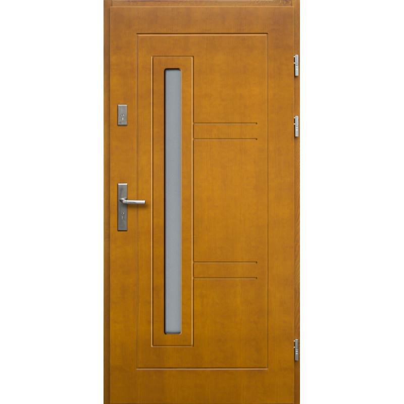 Drewniane drzwi zewnętrzne Spartakus z klamką - sosnowe - kolor: ZŁOTY DĄB