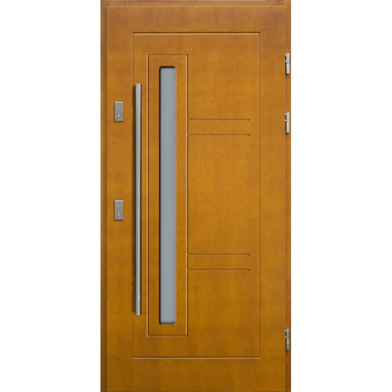 Drewniane drzwi zewnętrzne Spartakus - sosnowe z antabą 1200 - Kolor: ZŁOTY DĄB