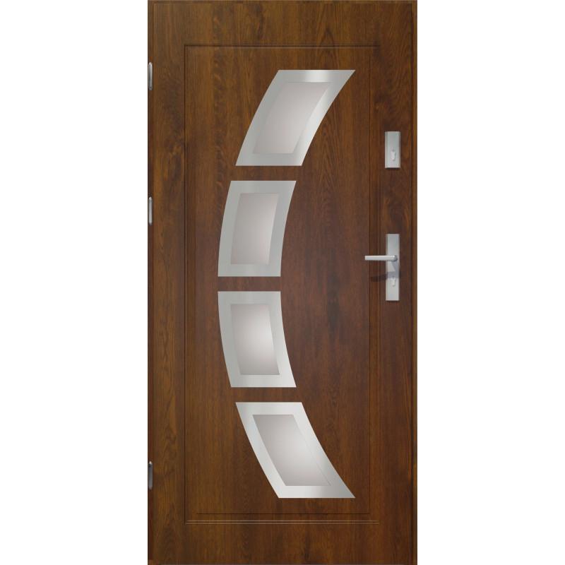 Drzwi zewnętrzne przeszklone HERMES - Ciemny Orzech INOX. Produkt POLSKI.
