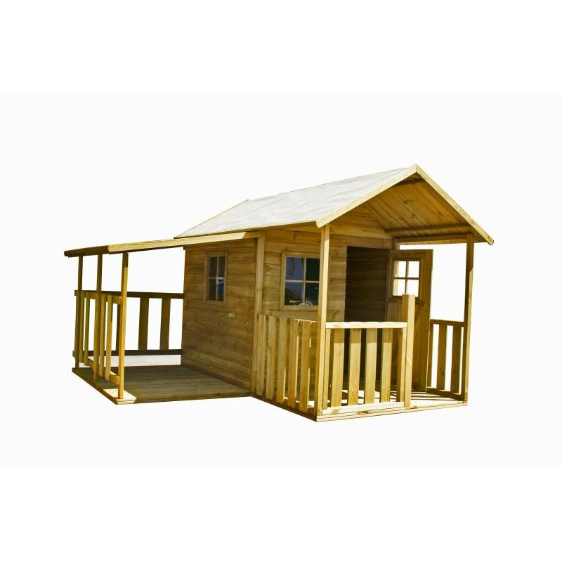 Drewniany domek ogrodowy dla dzieci - Blanka z garazem