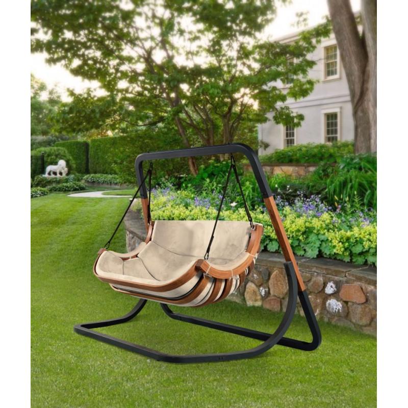 Podwójny Fotel Alpha Beżowy - bujak ogrodowy