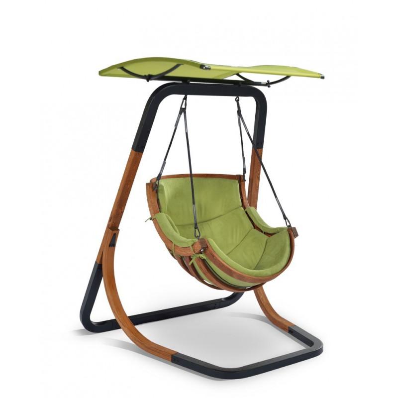 Fotel Alpha z daszkiem Zielony - bujak ogrodowy